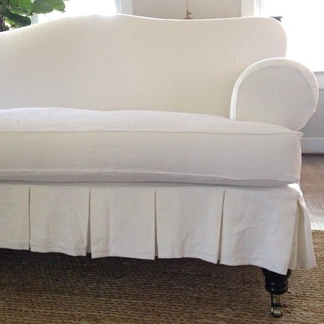 Pretty Linen Slipcovered Sofa With Wide Pleated Skirt