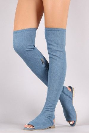 032f1f512753 Bamboo Denim Over-The-Knee Sandal Boots