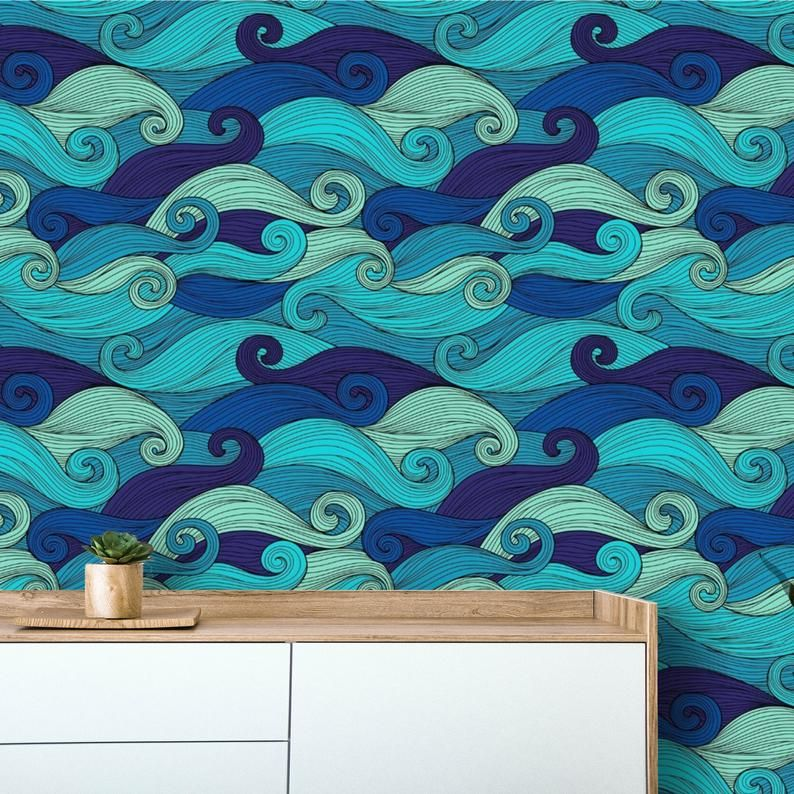 Wallpaper Blue Waves Peel And Stick Ocean Wallpaper Mural Etsy In 2020 Nautical Wallpaper Mural Wallpaper Accent Wall Decor