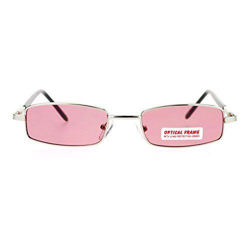 2e2e497410 SA106 Small Mens Rectangular Metal Rim Classic Color Lens Sunglasses Silver  Rose