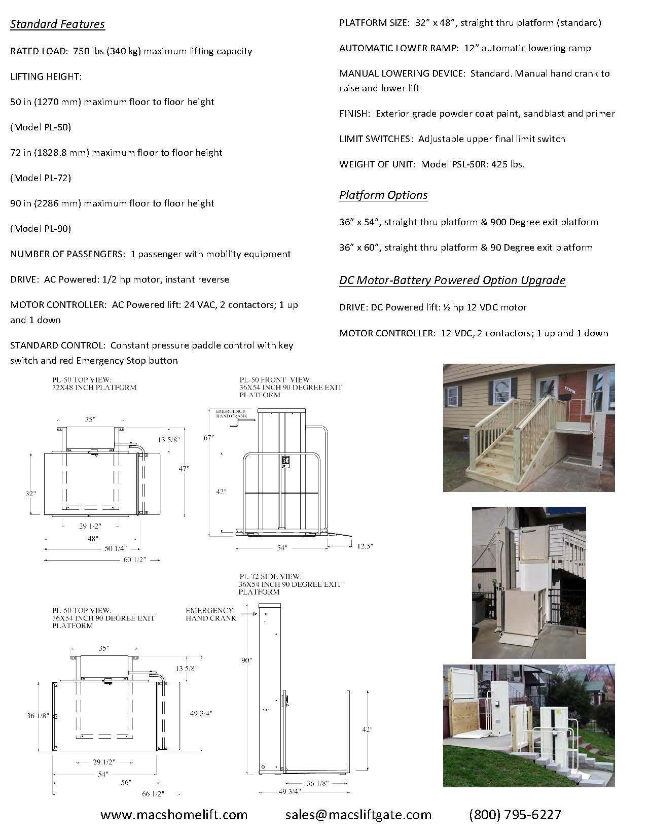 Mac\'s Vertical Home Lift PL-50 Vertical Platform Llift (VPL ...