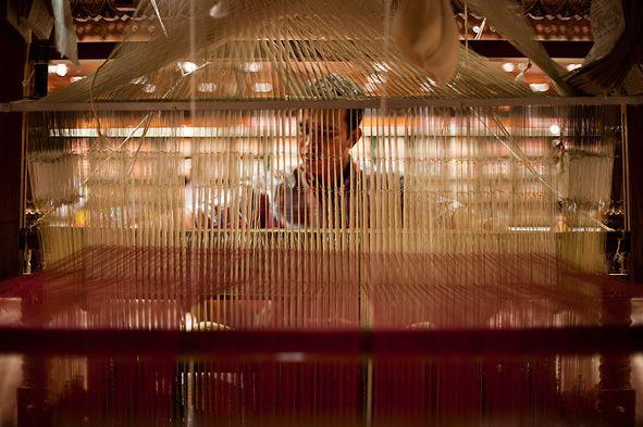 """""""…Las cuerdas blancas mostradas aquí forman parte de la red de cables necesarios para manipular cada hilo individual de diseño de seda."""