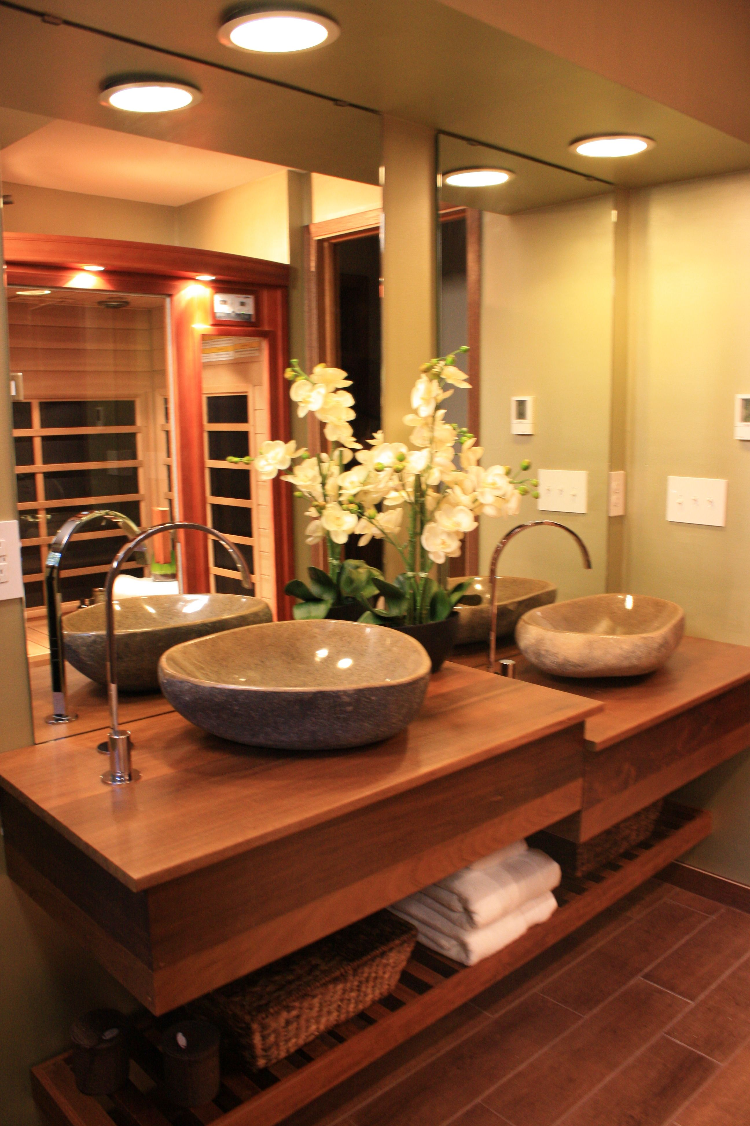 Teak Bathroom Countertop I Custom Designed Tiered Creative - Teak bathroom countertop
