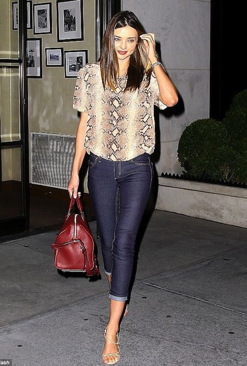 c23b85cca80c snakeskin blouse. snakeskin blouse Miranda Kerr Outfits
