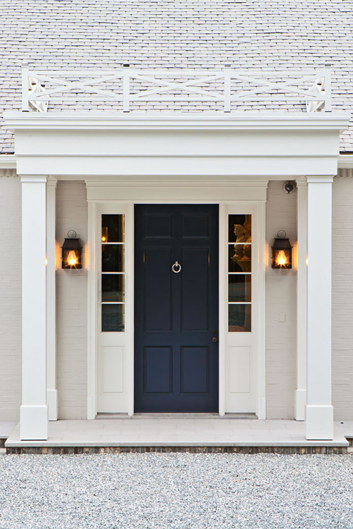 Dark Blue Frontdoor Contrasting Nicely With The White House