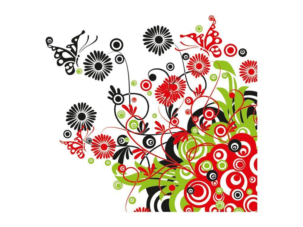 Wandsticker Sticker Aufkleber Frühling für Wohnzimmer Blume Schmetterlinge (Größe=32x30cm): Amazon.de: Küche & Haushalt