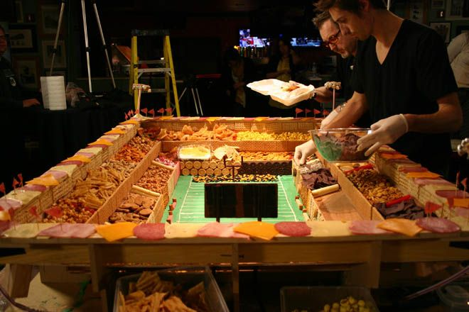 "Super Bowl ""Snack Stadium"" built from 50 kinds of junk food. (from last year's game)"