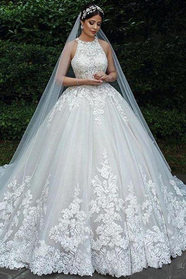 Magbridal Junoesque Tulle Jewel Neckline Ball Gown Wedding Dresses With Lace Appliques & Beadings #tulleballgown