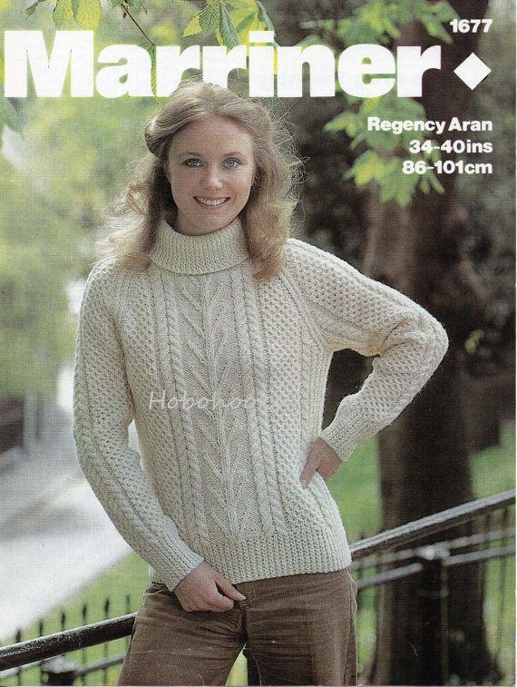 856d65b66 Womens knitting pattern womens aran sweater polo neck crew neck aran ...