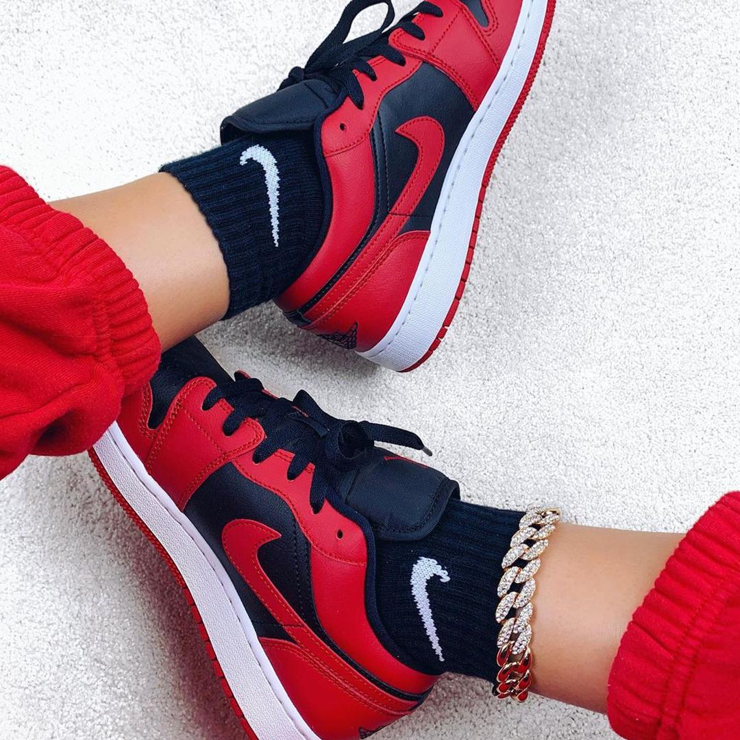 Air Jordan 1 Low Reverse Bred Gs Nike Red Sneakers Air Jordans Jordan 1 Black