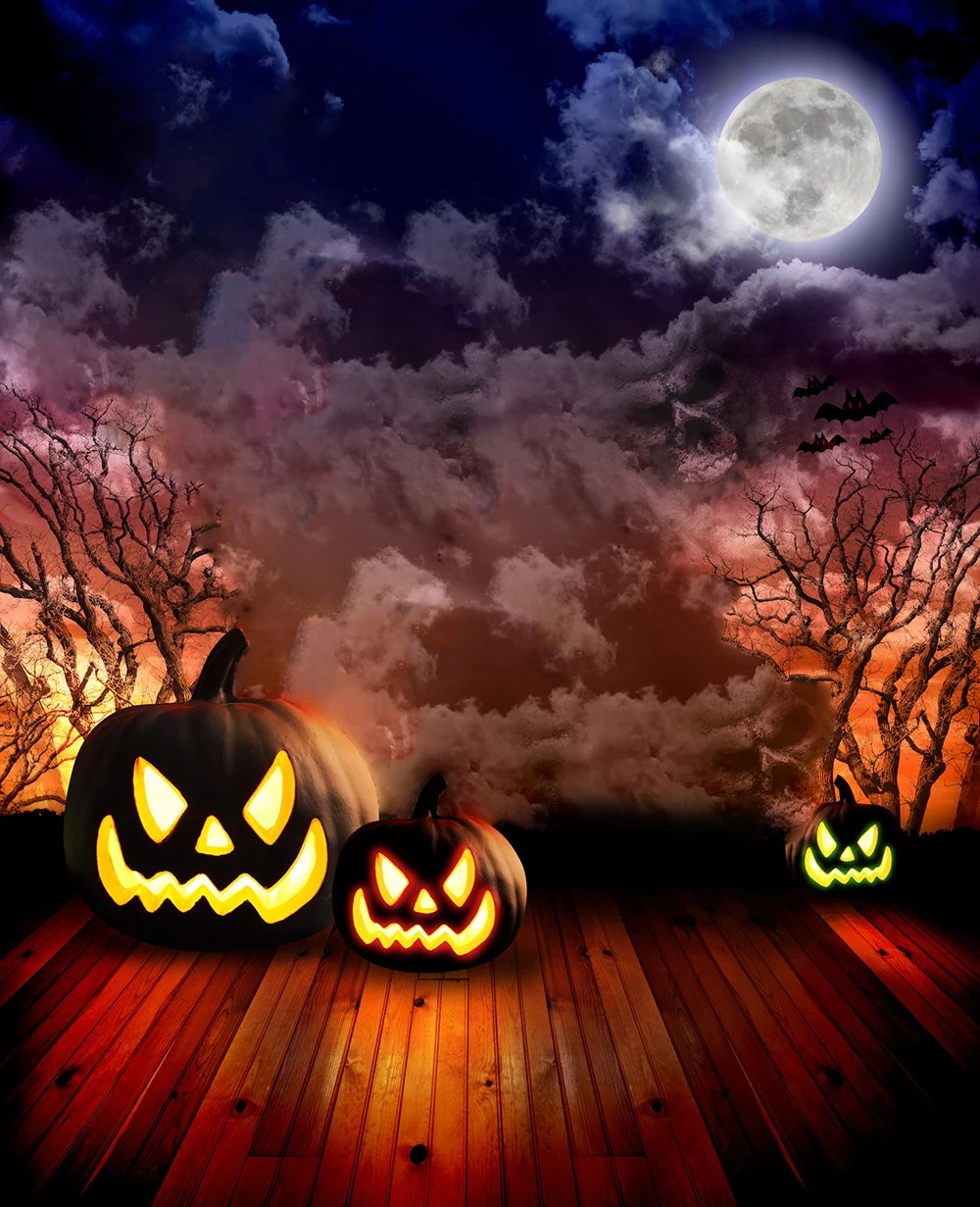 Baocicco 10x10ft Happy Halloween Party Backdrop Gloomy Pumpkin Lantern Scary Pumpkin Face Photography Background Wallpaper Decor Halloween Eve Party Night Party Trick or Treat Children Portrait
