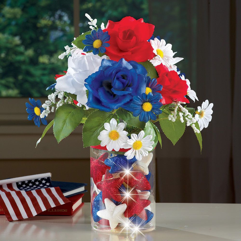 Lighted Patriotic Centerpiece Table Decor Red White Blue Americana