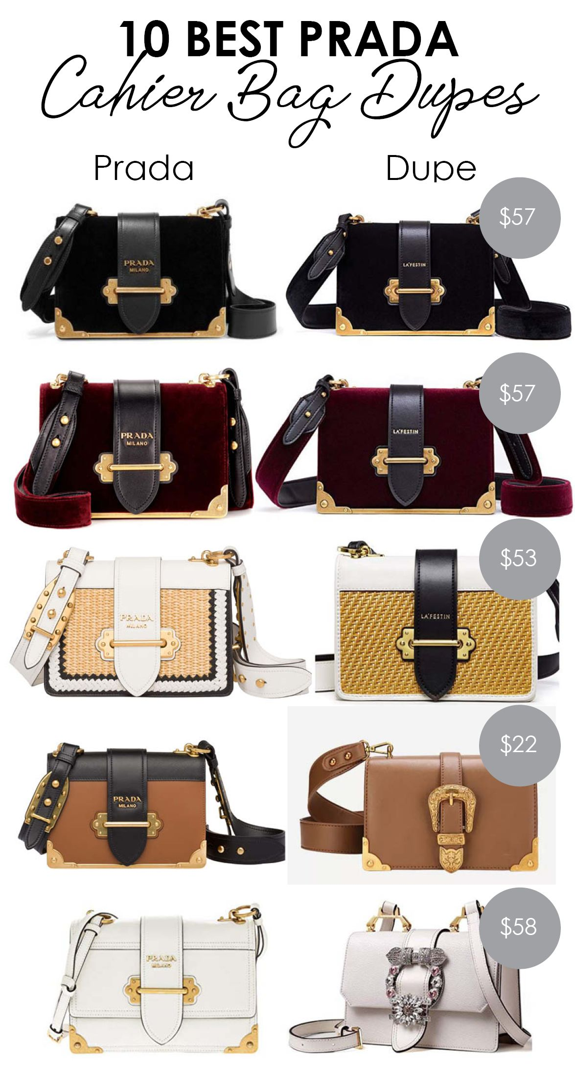 c546162ce34d For today's save vs. splurge feature, I want to talk about the best Prada  Cahier bag dupes on Amazon and other retailers. Below, you'll find a  selection of ...