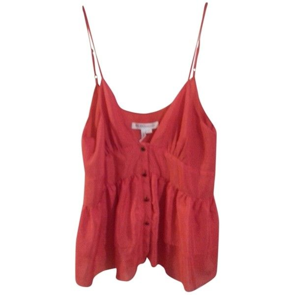 Pre-owned BCBGeneration Ruffle Button Front Dressy Top Coral ($55) ❤ liked on Polyvore featuring tops, tank tops, cami tank, ruffle top, red cami, red camisole and red tank top