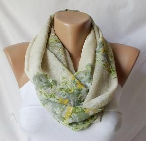 Cream and floraInfinity Loop Scarf Chiffon ScarfFlowers by Periay