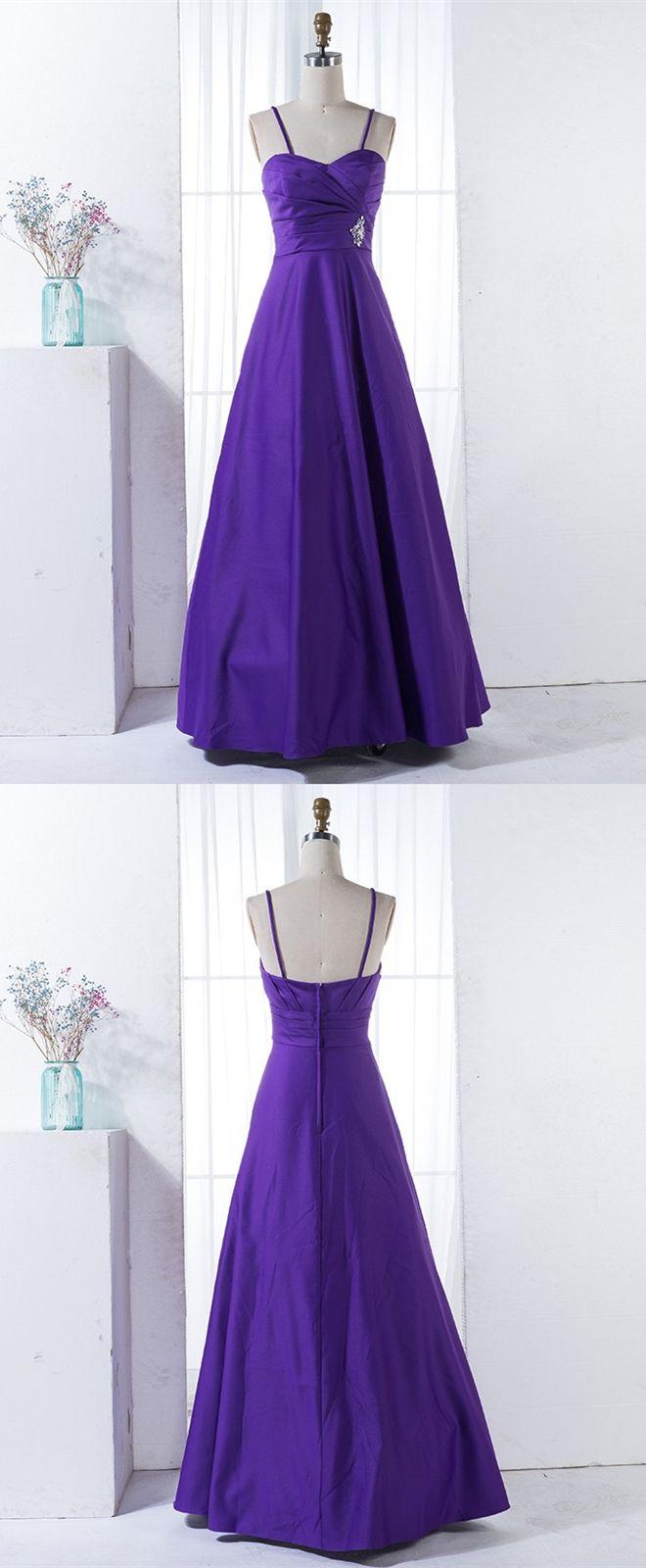 A-Line Spaghetti Straps Purple Satin Bridesmaid Dress with Beading ...