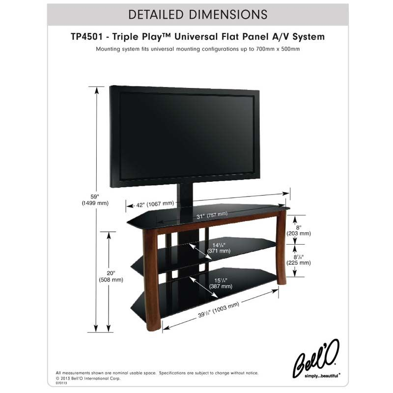Bello Triple Play Universal Flat Panel Tv Stand With Swivel Mount