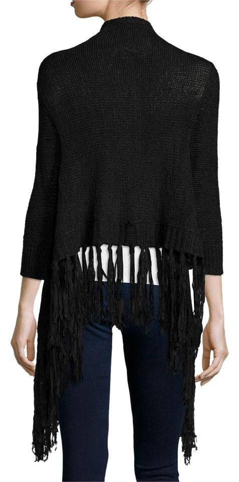Black Open Front Fringed Sweater Cardigan | Front fringe, Quarter ...