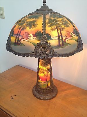 Antique Reverse Painted Nouveau Era Lamp W Lighted Base Beautiful Scene Colors Antique Lamps Painting Lamps Recover Lamp Shades