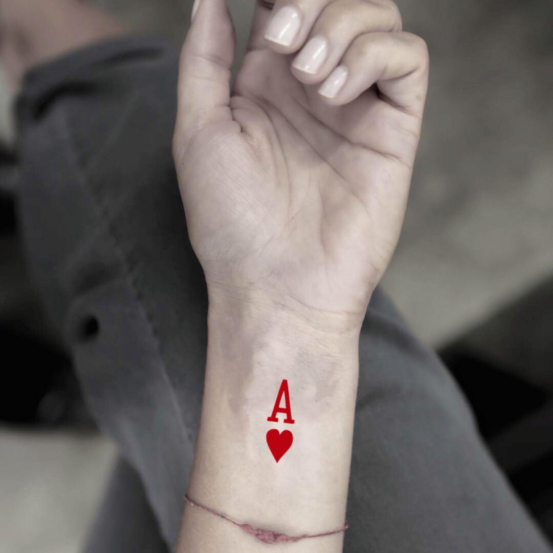 Ace Of Hearts Temporary Tattoo Sticker Set Of 4 Heart Temporary Tattoos Ace Tattoo Ace Of Spades Tattoo