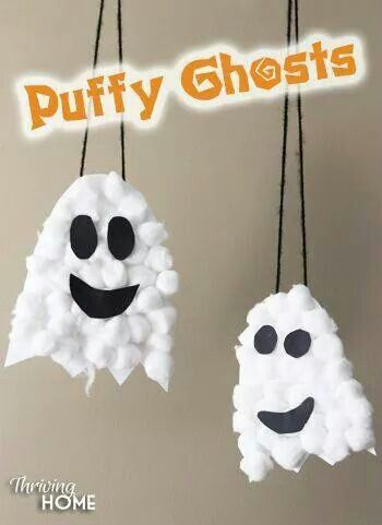 Thriving Home Cotton Ball Ghosts Halloween Craft