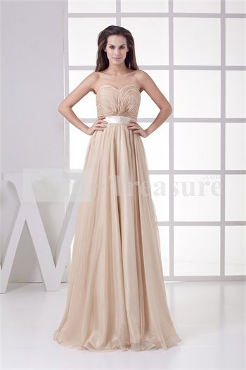 Champagne Chiffon/Silk-like Satin Floor-Length Sweetheart A-line Bridesmaid Dress