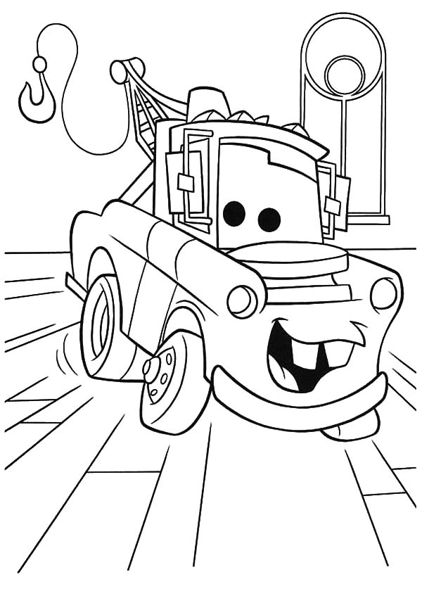 Disney Cars Character Tow Mater Coloring Pages Color Luna Disney Coloring Pages Cars Coloring Pages Truck Coloring Pages