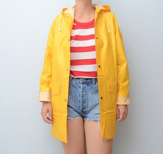 SOLD OUT! Vintage yellow #raincoat // fisherman raincoat by ...