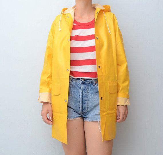 Vintage Yellow Raincoat // Fisherman Raincoat