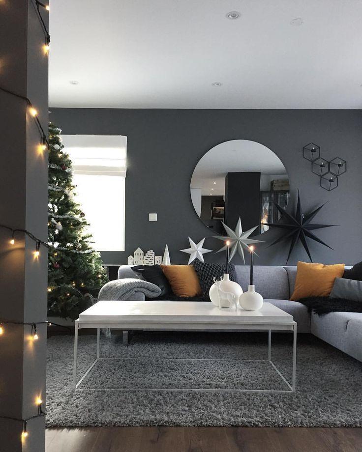 Photo of elegant svart / hvitt stueinnredning, moderne stueinnredning, leilighet d