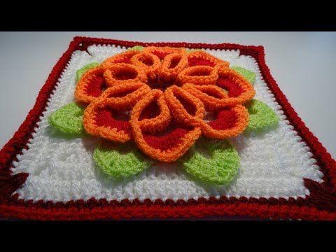 Crochet Flower 3D Granny Square - YouTube | Flower | Pinterest ...