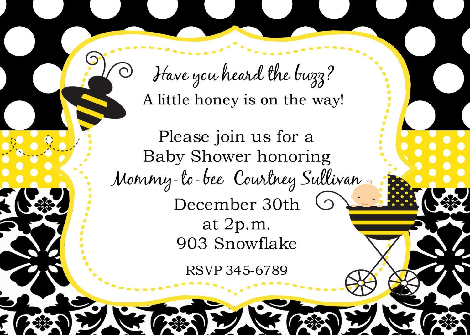 Bumble Bee Baby Shower Invitations Digital or printable file