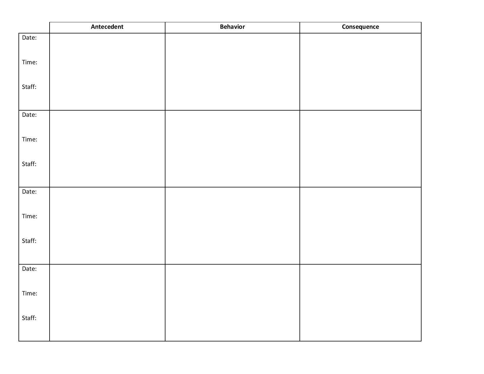 This Data Collection Sheet Is Used To Collect Abc Data In