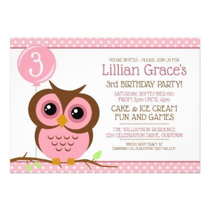Sweet Pink Owl Birthday Party Invitation Invitation ideas