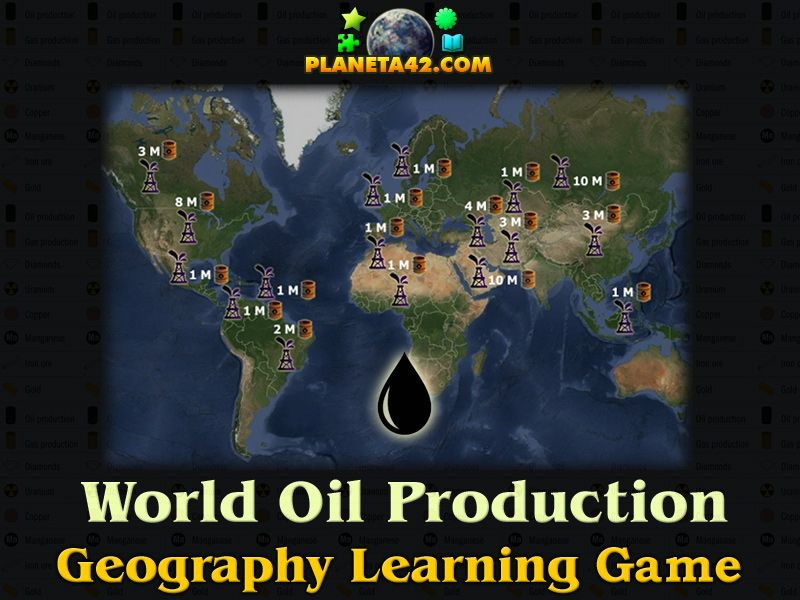 Oil production geography games pinterest oil production free online game to exercise or study oil yield worldwide for fun educational geography game suitable for interactive classes school lessons and home gumiabroncs Choice Image
