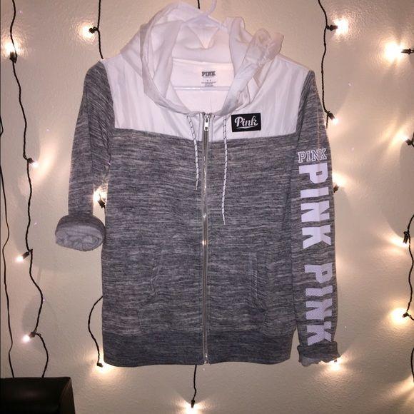 Vs pink zip up hoodie NWT | Wind breaker, vs Pink and Gray