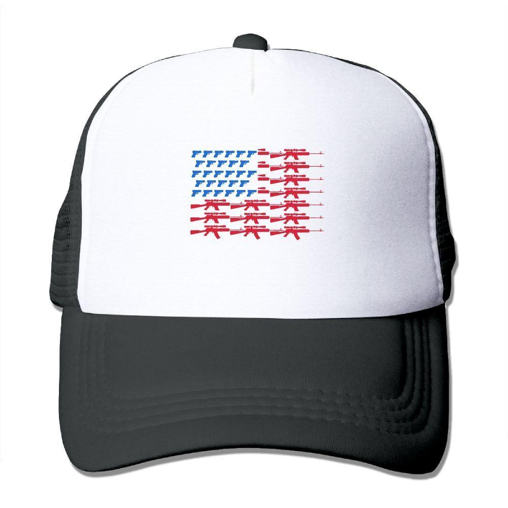 Adult American Flag Gun The Adjustable Snapback Trucker Hat. 100% Nylon  Mesh Back Keeps fd4ae5d52678