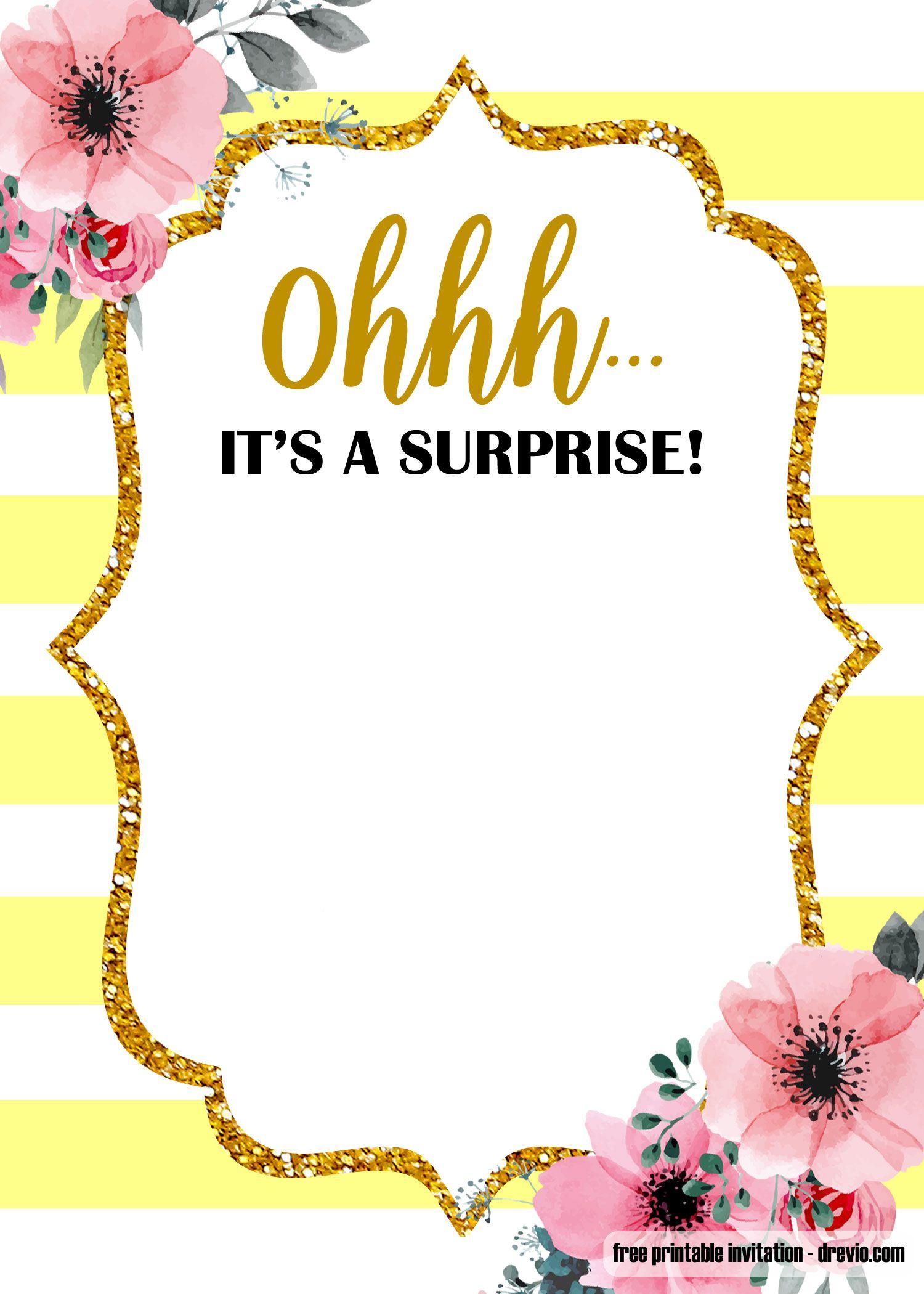 FREE Printable Surprise party Birthday Invitation Templates – FREE