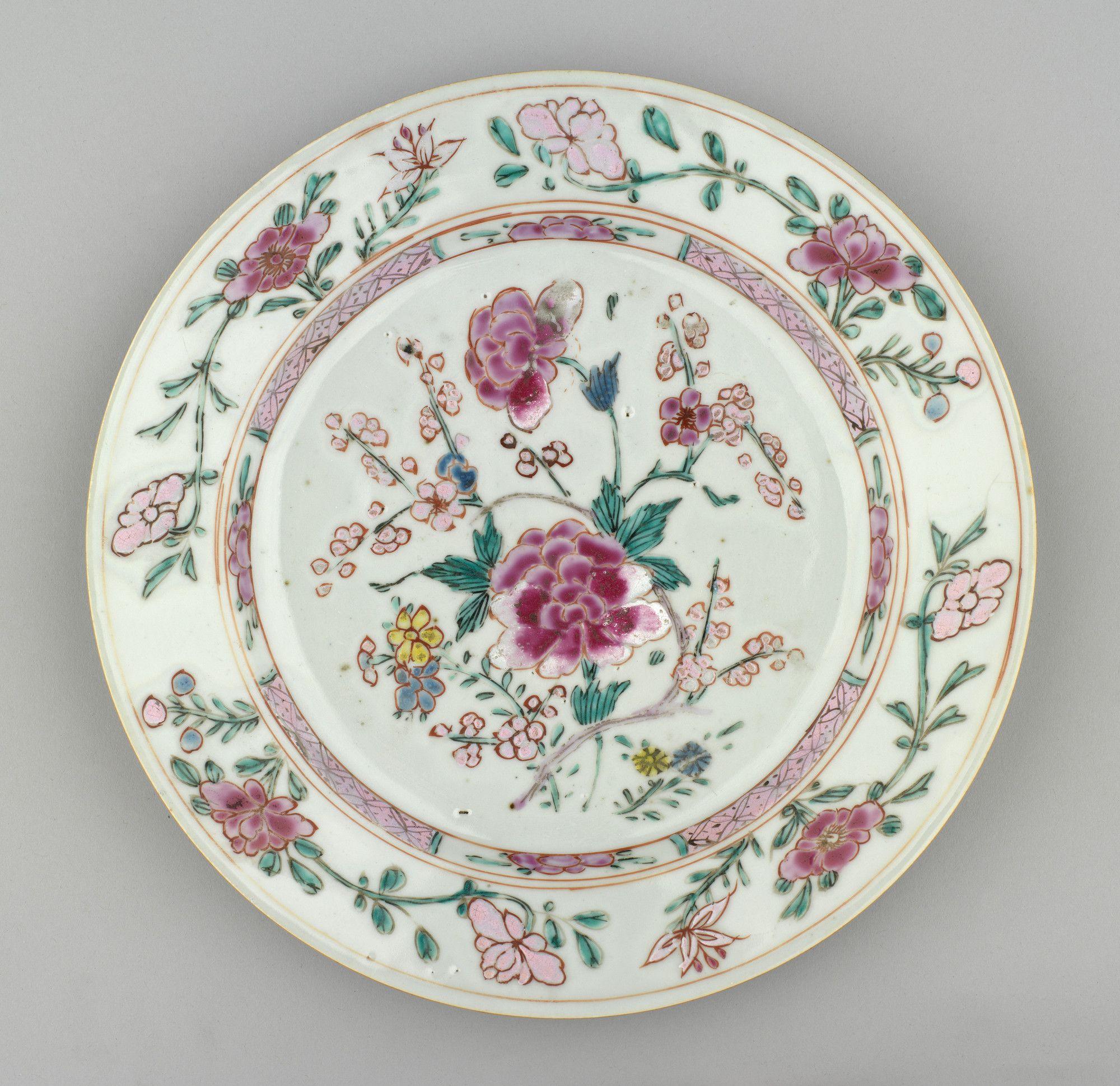 Jingdezhen Jiangxi Province China Pair Of Plates Porcelaine De Chine Famille Rose Ceramique
