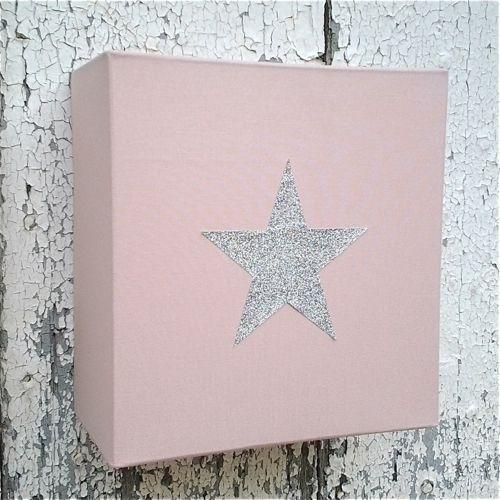 Applique coton rose poudré étoile argent pailleté | Tableau Marie ...