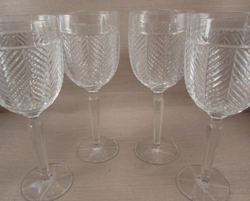 Ralph Lauren Crystal HERRINGBONE Classic Goblets - Set of Four - New