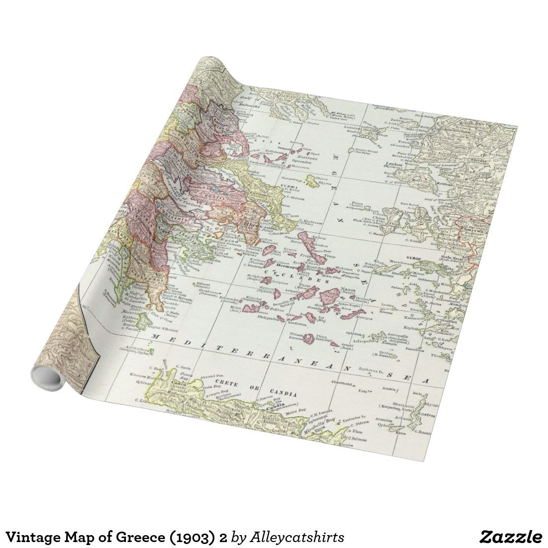 Vintage Map of Greece (1903) 2 Wrapping Paper