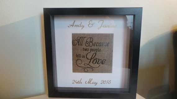 All because two people fell in love box frame. Cushion burlap ...