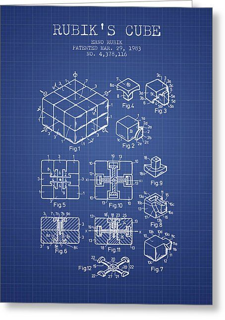Rubiks cube patent from 1983 blueprint drawing by aged pixel draw malvernweather Gallery