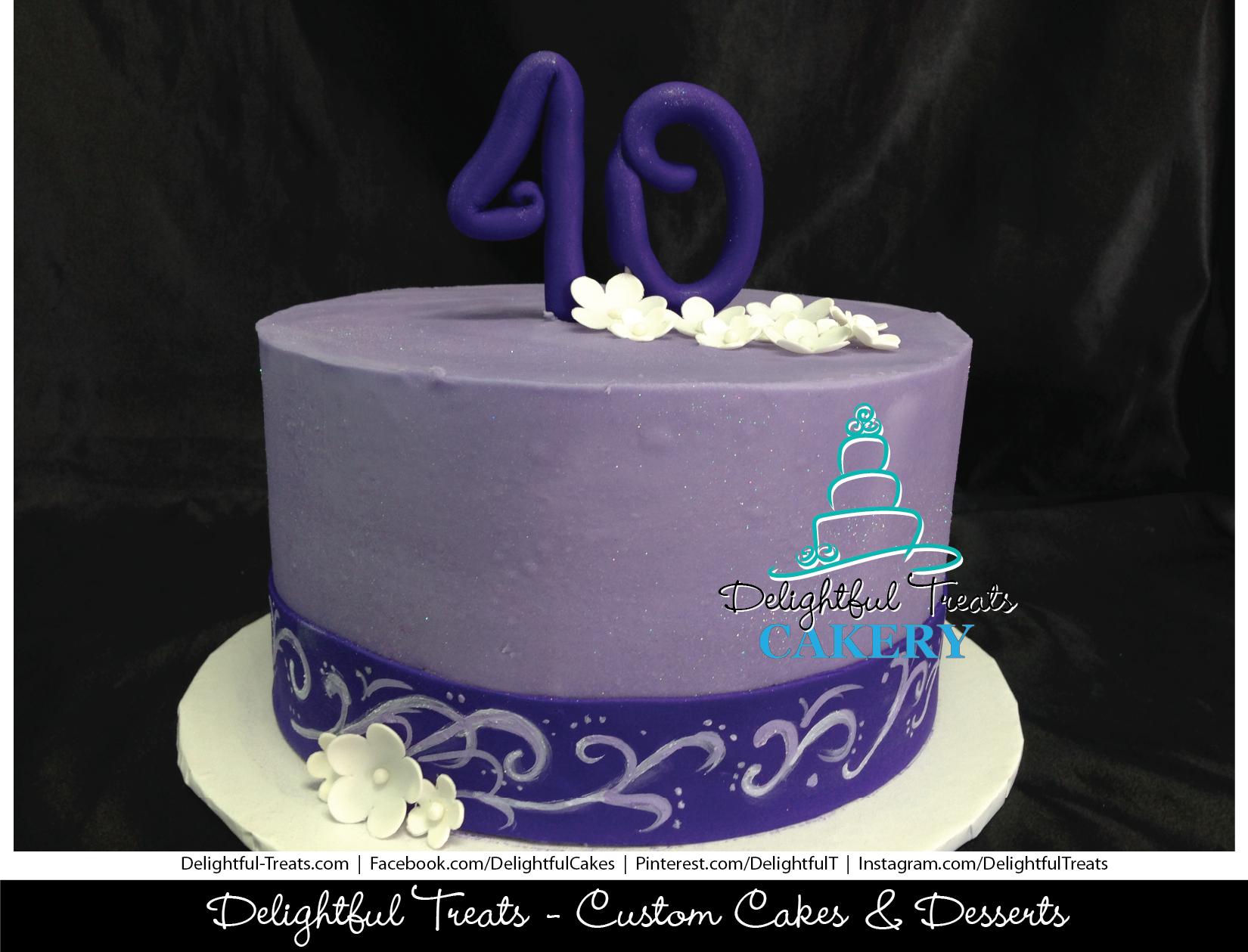 Purple Buttercream 40th Birthday Cake With Fondant Ribbon Painted
