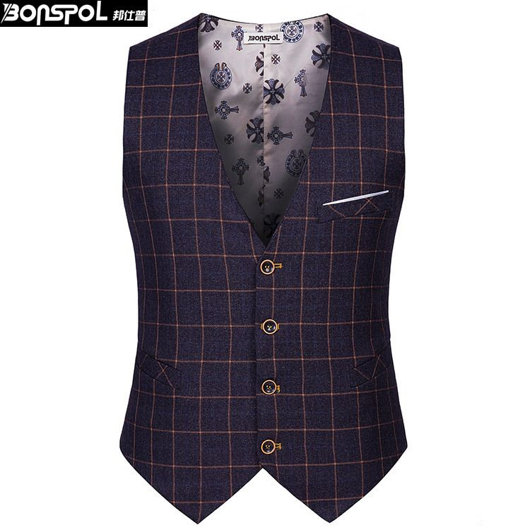 MOUTEN Mens Sleeveless Waistcoat Single Breasted Business Casual Dress Vest
