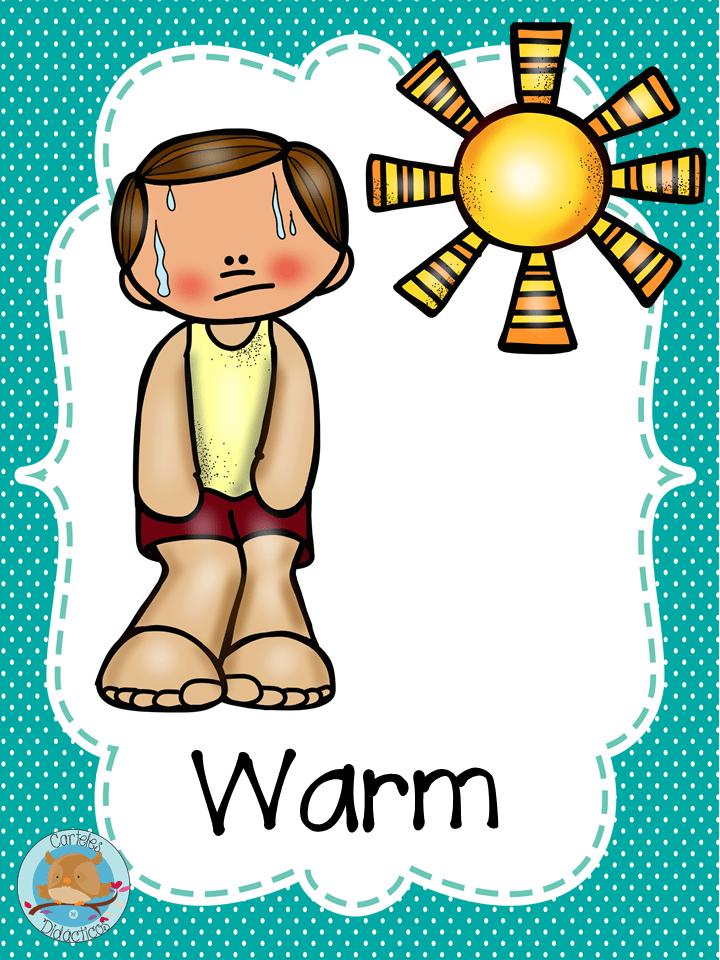 Carteles sobre el clima en inglés y español. A color y en blanco en ...