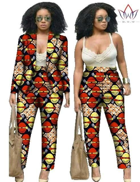 e84b86b6c2c African Print Two Piece Set For Women Dashiki Pant and Crop Top ...