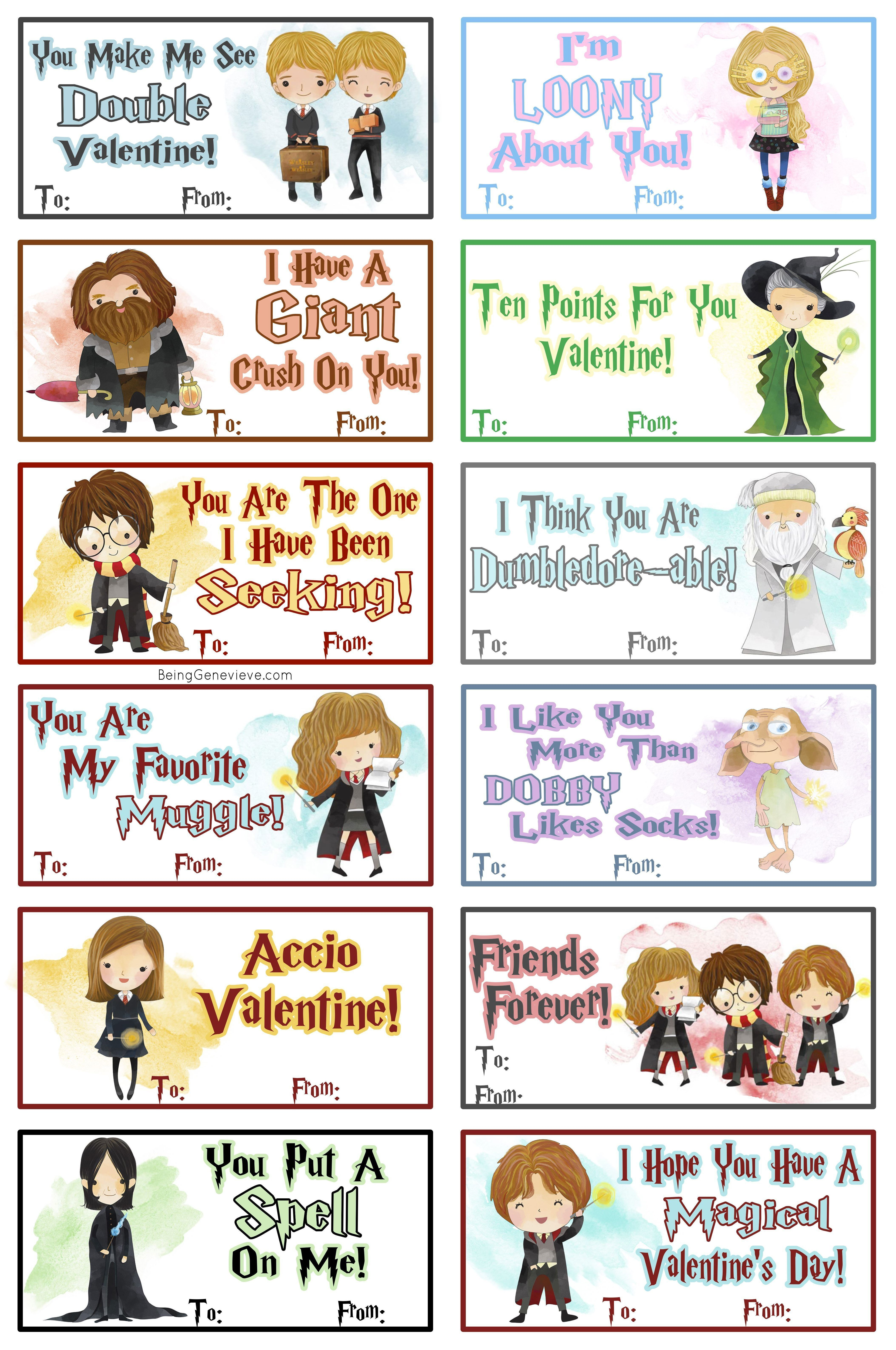 Free Printable Harry Potter valentines. These cute ...