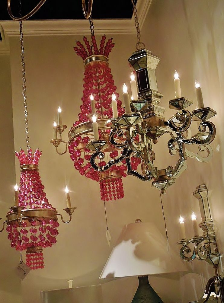 Need some pretty pink glass beaded light fixtures?  Colorful glass beads where everywhere at #HPMKT #designpinthurs